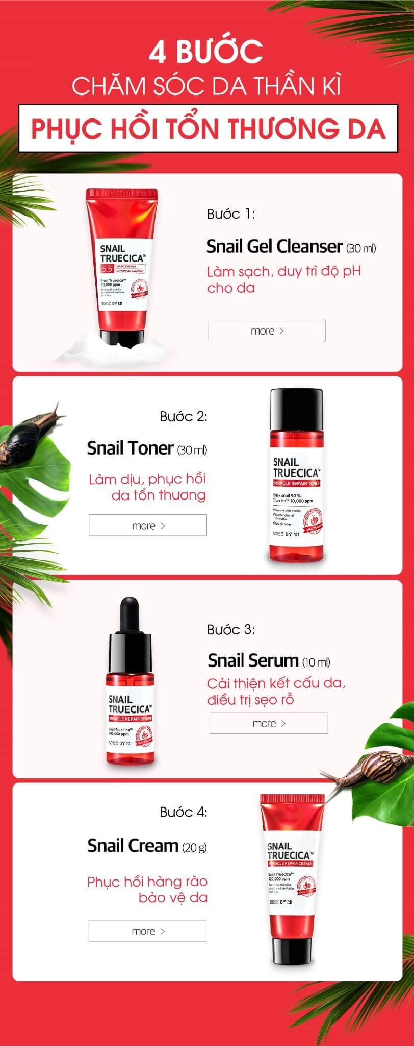 set-4-Snail-Truecica-Miracle-4 bước Repair-Starter-Kit-Edition