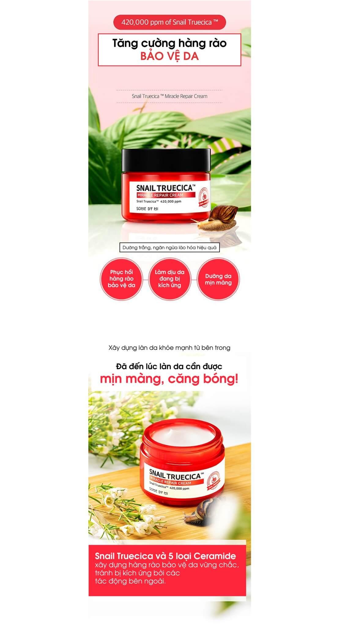 công dụng Snail Truecica Miracle Repair Cream