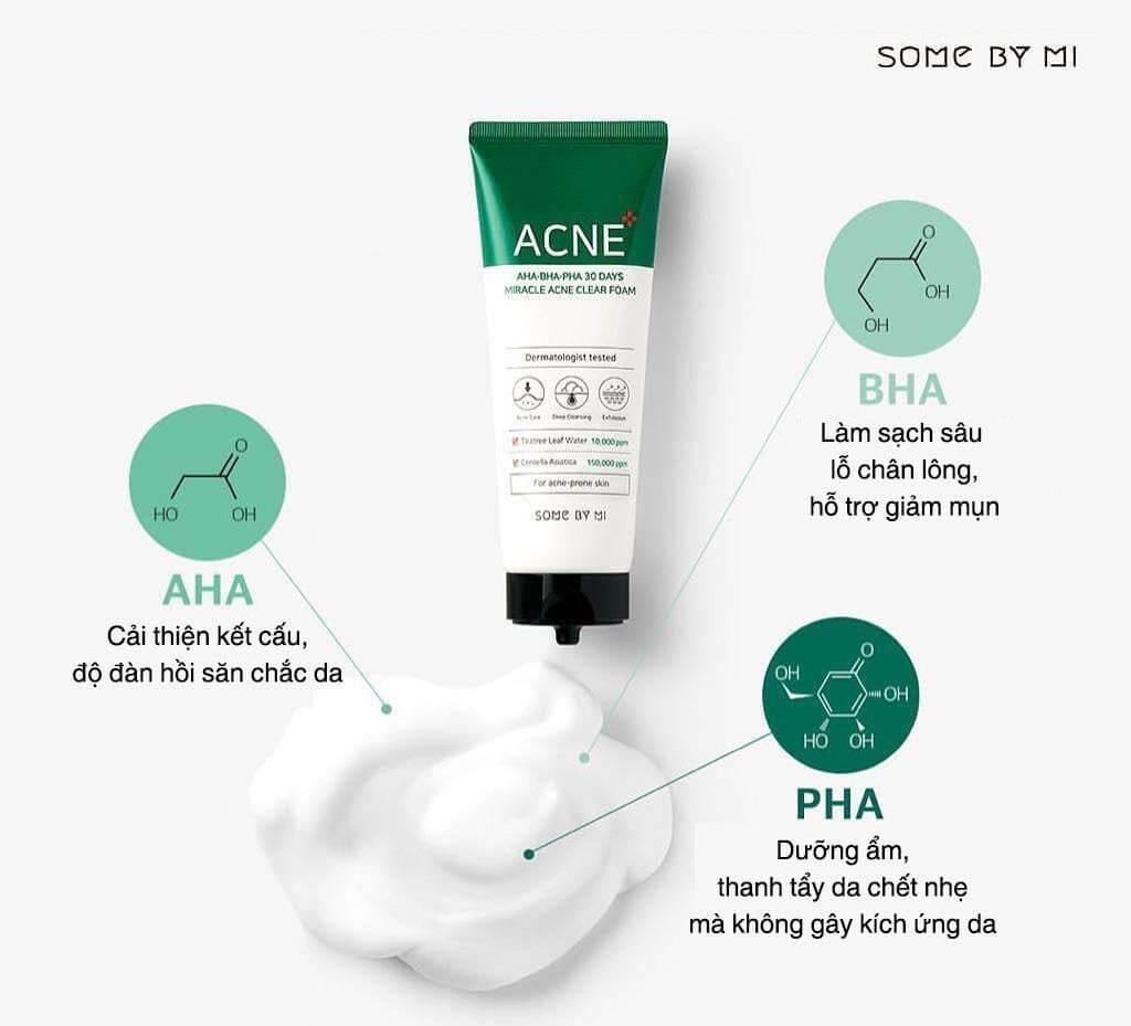sữa rửa mặt AHA-BHA-PHA 30 Days Miracle Acne Clear Foam